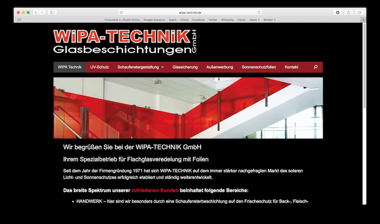 Responsive Website für die WiPA-TECHNIK GmbH