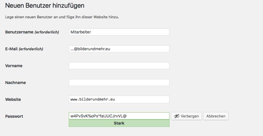 Benutzerverwaltung in WordPress